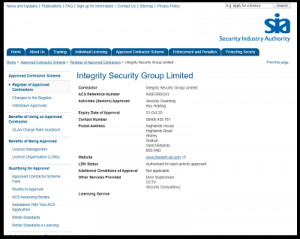 SIA contractor contractor - Integrity Security Group Ltd