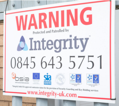 mobile security patrols warning signage